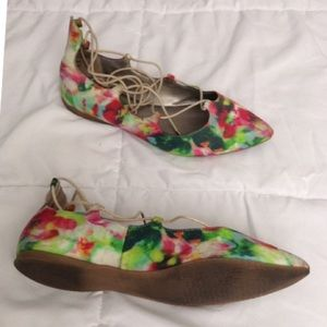 Multicolored Lace Up BP Flats